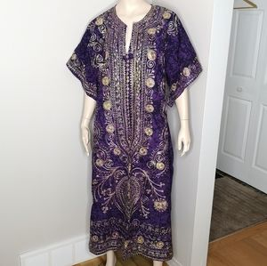 Embroidered Long Ethnic Style Caftan Tunic Dress
